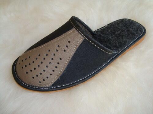 003 Pantofle s ovčí vlnou pánské