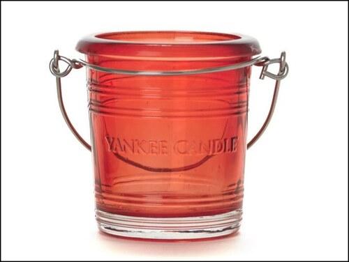 Svícen Glass Bucket červený na votivní svíčku