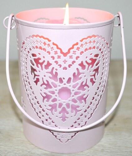 Svícen Růžové srdce M JOPINBM