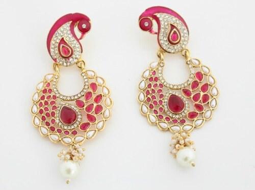 Náušnice s růžovými krystaly a perlami NAVERVCR