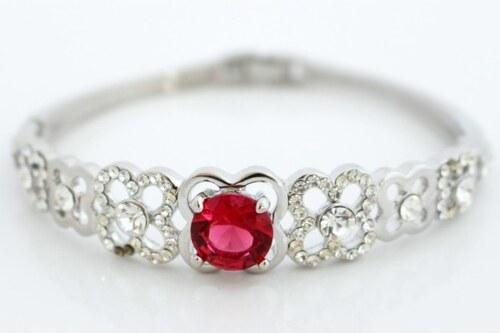 stříbrný náramek s červeným krystalem NAVBRA17