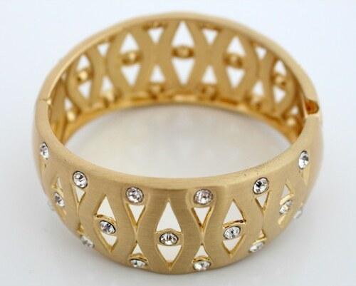 Zlatý kovový náramek s krystaly NAVBRA14