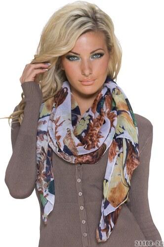 Lehký šál Fashion se vzorem květin a motýlů - bílý