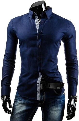Pánská košile s dlouhým rukávem Triwenti - tmavě modrá