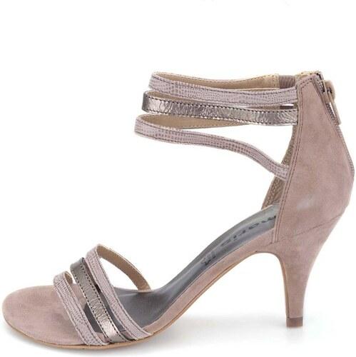 Béžové kožené páskové sandálky na podpatku Tamaris - Glami.cz 3c02a29d18