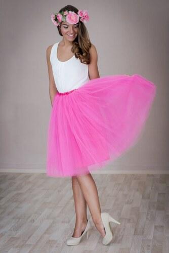 251720d68fe Dovoz Dámská tylová TUTU sukně tmavě růžová pod kolená - 60 cm ...