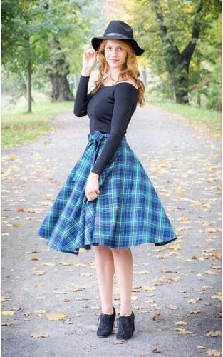db9ce5d5df84 MiaBella Kolová sukně kostka modrá Barva jako na obrázku