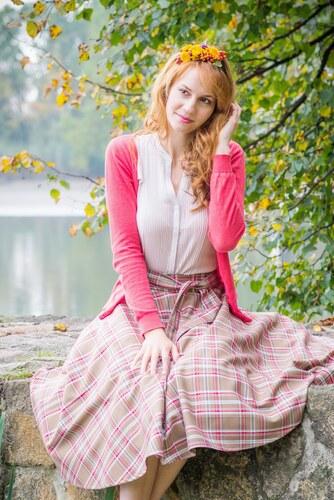 f6b954d3c1f9 MiaBella Kolová sukně skotská kostka hnědá Barva jako na obrázku