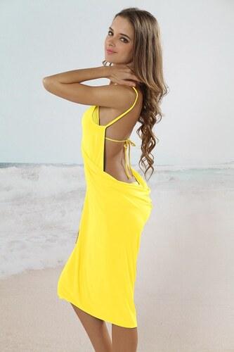 a12442d9a86c LM moda Plážové zavinovací šaty zářivé žluté - Glami.cz