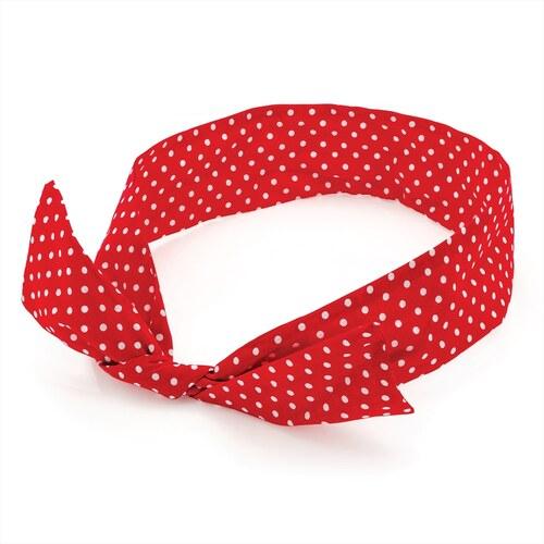 Látková čelenka do vlasů červená, puntík 29162