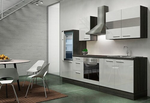 Küchenzeile mit E-Geräten »Emily«, Breite 270 cm, Korpus Eiche-Grau