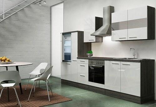 Küchenzeile mit E-Geräten »Emily«, Breite 300 cm, Korpus Eiche-Grau - Set 2