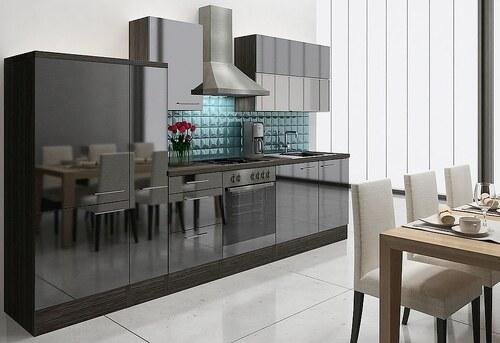 Küchenzeile mit E-Geräten »Lea«, Breite 310 cm, Korpus Eiche - Grau - Set 2