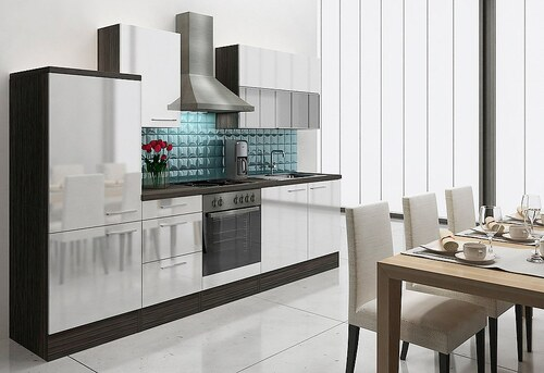 Küchenzeile mit E-Geräten »Lea«, Breite 280 cm, Korpus Eiche - Grau - Set 1