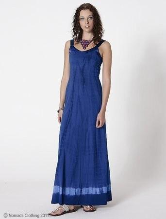 f6cbe6348b97 Nomads Dlouhé batikované letní šaty z biobavlny modré - Velikost oblečení  pro dospělé  20-