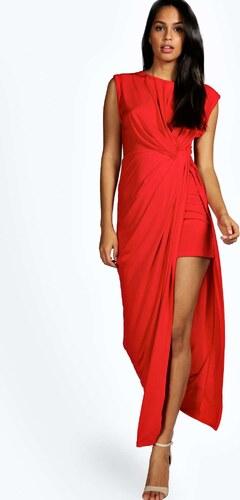 9bf43fde202 BOOHOO Červené šaty s detailem uzlu na boku Natasha - Glami.cz