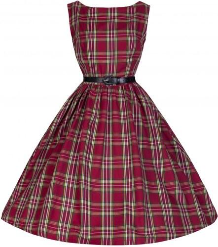 Retro šaty Lindy Bop Audrey Tartan Red 42 - Glami.cz 0f3ad96591