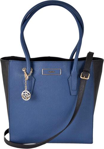 Kožená kabelka DKNY Donna Karan blue black colorblock - Glami.cz eef7779157b