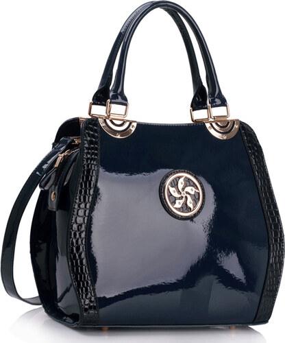 LS fashion LS dámská lakovaná kabelka LS00380 s broží tmavě modrá ... e474e3e84e