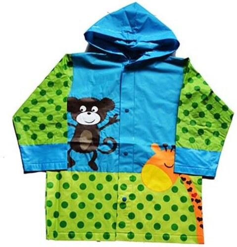 PIDILIDI Dětská pláštěnka s opičkou a žirafou - zeleno-modrá - Glami.cz 470810fb60a