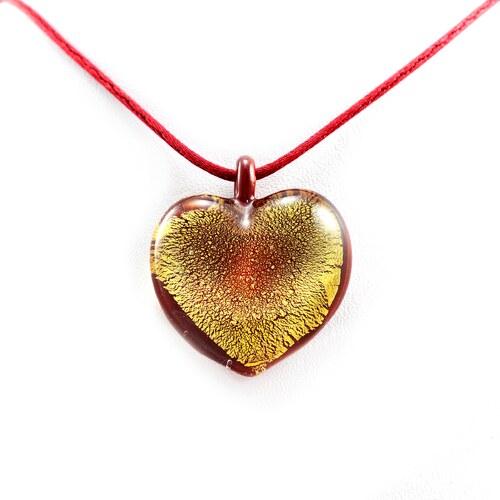 b4822e217 Murano Náhrdelník skleněné srdce - kombinace barev - červená, zlatá -  Passione