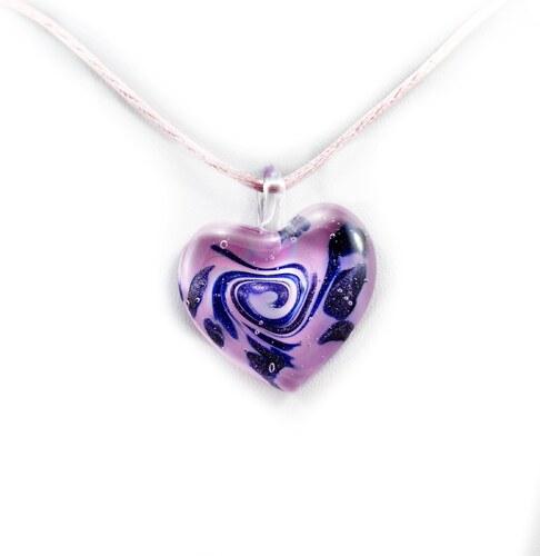 657d0463a Murano Náhrdelník skleněné srdce - kombinace barev - fialová, modrá -  Passione 2
