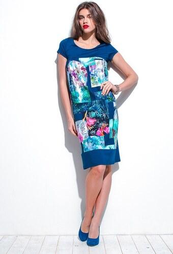 Modré vzorované letní šaty 0215 Andrea Martiny 46 - Glami.cz c76b930840