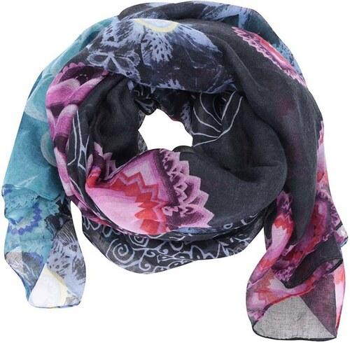 b8b7d682a3e Modrý barevně vzorovaný šátek Desigual Rectangle Bollywood - Glami.cz