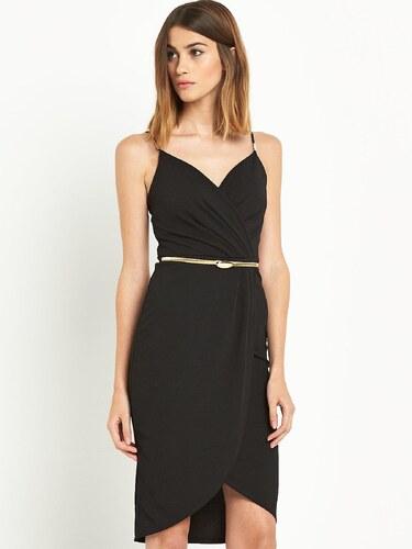 09cc4971e05 CLOSET Černé zavinovací šaty se zlatým páskem - Glami.cz