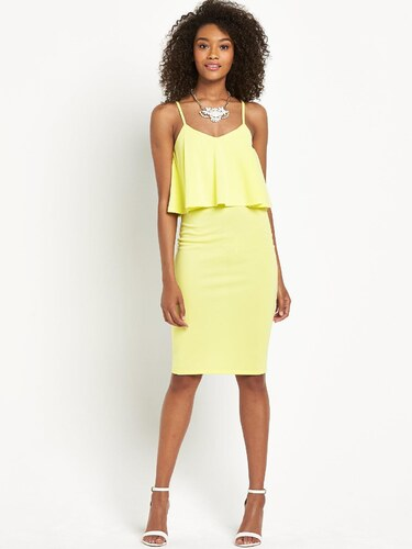 CLOSET Žluté midi šaty s volánkem - Glami.cz b6cbcb3d1a