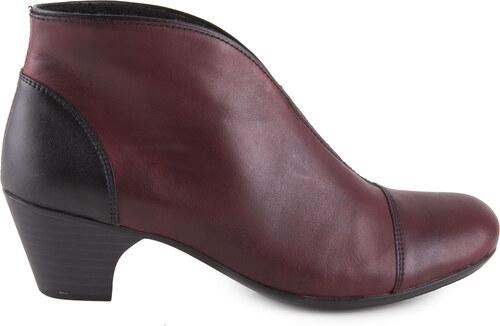 Rieker - Elegantní dámské kotníkové boty na podpatku šíře G 50553-35   vínově  červená de6b47d48a