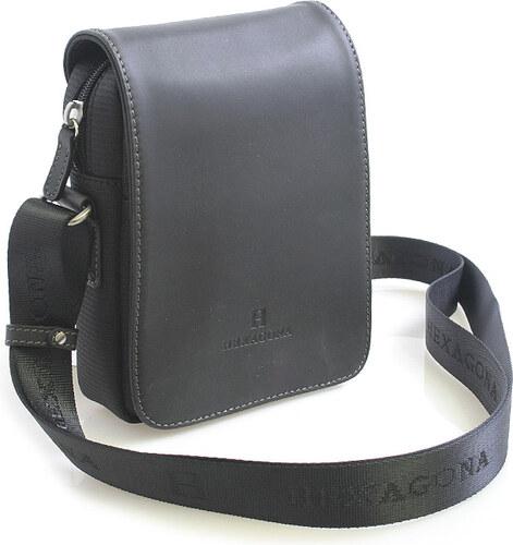 Luxusná pánska kožená kabelka cez rameno čierna - Hexagona Filippo čierna 557bbc12cc0