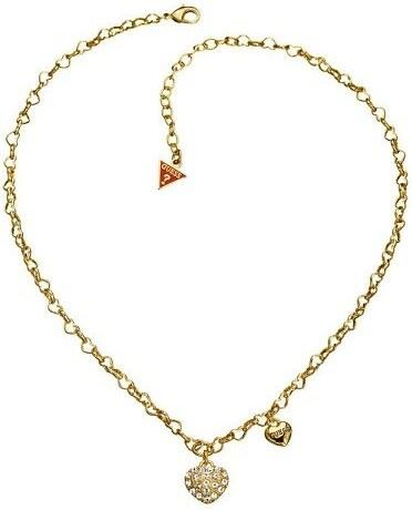 a7b3ee910 Dámský zlatý kovový náhrdelník s přívěsky srdce Guess - Glami.cz