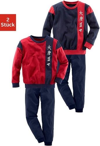Pyjamas, lang (2 Stück), cooler Style mit Colorblocking und Bündchen