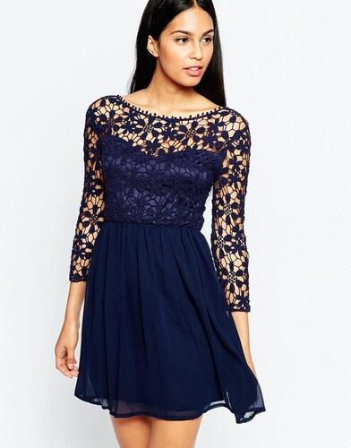 HUSH HUSH Modré šaty s dekorem průhledné krajky - Glami.cz 0da47c4eb8
