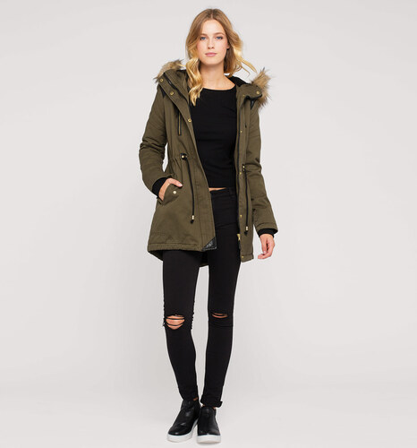 c a damen army parka in khaki von clockhouse. Black Bedroom Furniture Sets. Home Design Ideas