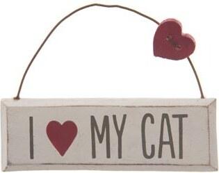 Dekorační závěsná cedulka Love my cat