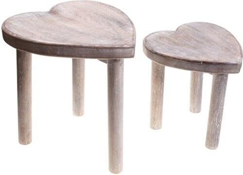 Sada dřevěných stoliček Heart