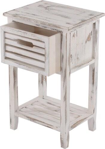 Noční stolek na nožičkách Shabby, bílý