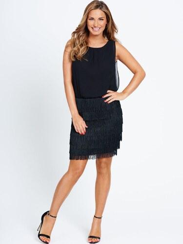 CLOSET Černé mini šaty s třásněmi na sukni - Glami.cz 483ba01be5