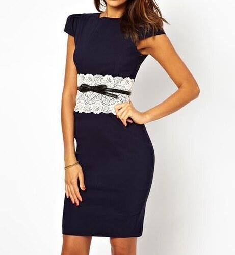 7bd3804a72e9 LM moda Elegantní pouzdrové šaty s krajkou modré OH036 - Glami.cz