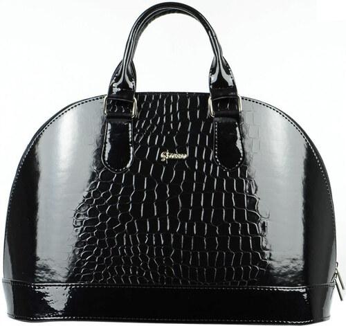a65016849d Elegantná čierna lakovaná kabelka s krokodílím vzorom S24 GROSSO ...