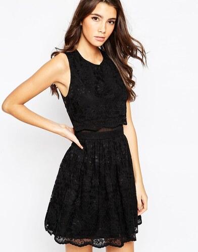 asos robe patineuse avec top court en dentelle noir. Black Bedroom Furniture Sets. Home Design Ideas