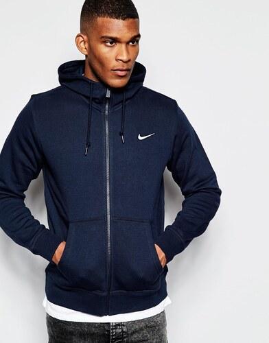 Nike - 611456-473 - Sweat à capuche zippé avec logo virgule - Bleu ... c4acab130d57