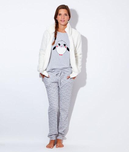 etam pyjama 3 pieces veste polaire pantalon pingouins. Black Bedroom Furniture Sets. Home Design Ideas