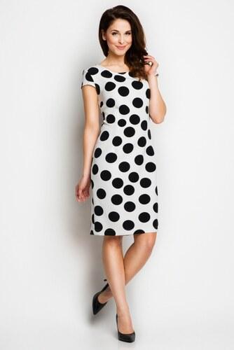308d50d2ca9 Bílé šaty s černými puntíky Awama Awa97 - Glami.cz