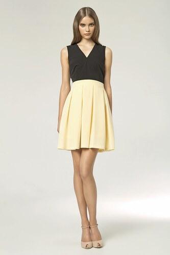 Dámské koktejlové šaty NIFE s plisovanou sukní (vel.38 skladem) 38 žlutá  SKLADEM 9077b83e71