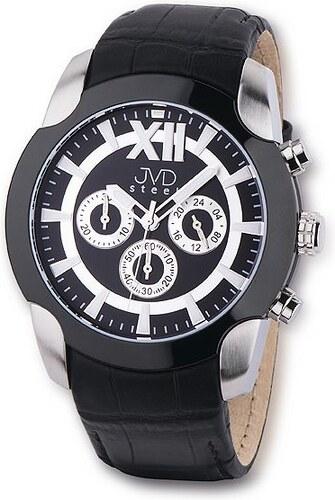 Pánské luxusní chronograph černobílé vodotěsné hodinky JVD steel C1176.3 e3d2c59606