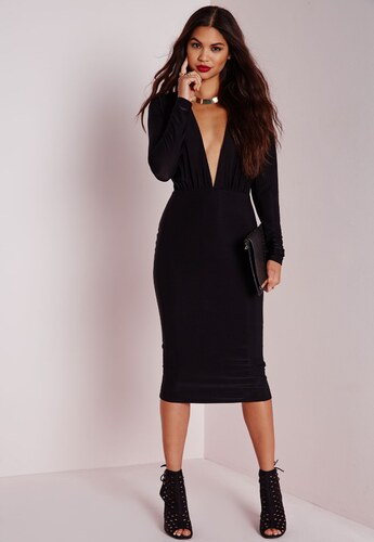 MISSGUIDED Černé midi šaty s hlubokým sexy výstřihem - Glami.cz 30934ff0fb