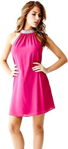 69544f95b Šaty Guess Chauncey High-Neck Dress růžové - Glami.cz